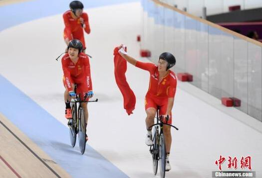 亚运会场地自行车男团追逐赛决赛中国队夺金!